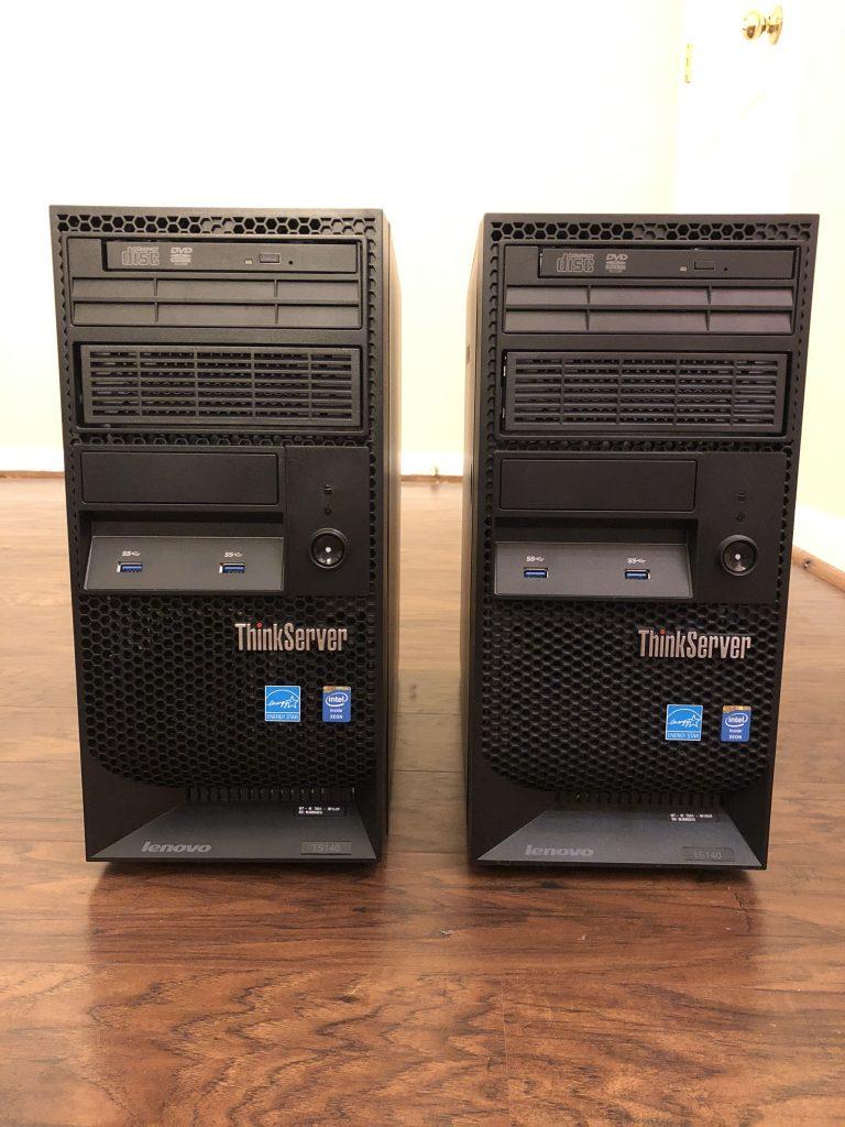 Twin Lenovo TS140 servers